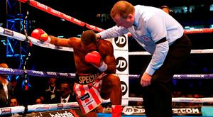 Kell Brook is knocked down during his IBF Welterweight World Championship bout with Errol Spence at Bramall Lane
