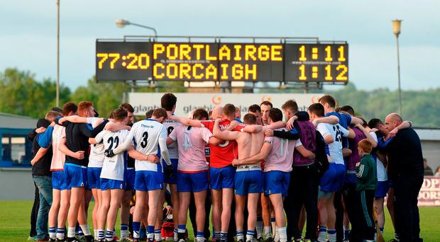 Waterford players huddle after the game against Cork at the Munster GAA Football Senior Championship Quarter-Final match between Waterford and Cork at Fraher Field in Dungarvan, Co Waterford. Photo by Matt Browne/Sportsfile