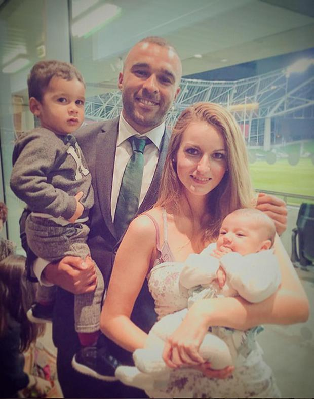 Elvira Fernandez and boyfriend Simon Zebo with their children Jacob and Sofia. Picture: Instagram