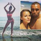 Elvira Fernandez, centre, and with boyfriend Simon Zebo, right