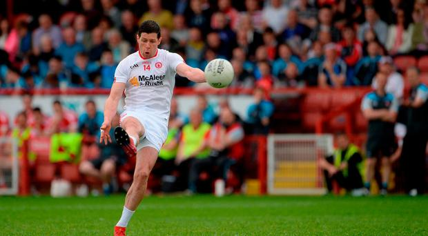 Sean Cavanagh of Tyrone scoring a point during the Ulster GAA Football Senior Championship Quarter-Final match between Derry and Tyrone at Celtic Park, in Derry. Photo by Oliver McVeigh/Sportsfile