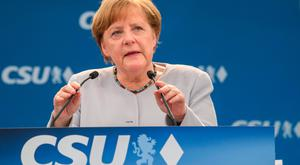 German Chancellor Angela Merkel delivers a speech during a joint campaigning event of the Christian Democratic Union (CDU) and the Christion Social Union (CSU) in Munich, southern Germany, on May 27, 2017. AFP PHOTO / dpa / Matthias Balk / Germany OUTMATTHIAS BALK/AFP/Getty Images