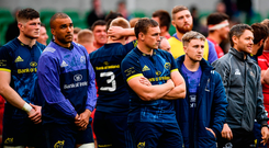 Munster players including Tommy O'Donnell, centre, following their defeat in the Guinness PRO12 Final between Munster and Scarlets at the Aviva Stadium in Dublin. Photo by Ramsey Cardy/Sportsfile