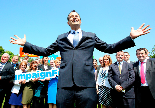 Leo Varadkar and supporters at the launch of his policy paper as part of his leadership election campaign in Dublin's Merrion Square last week. Photo: Tom Burke