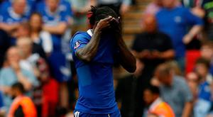 Chelsea's Victor Moses walks off after being sent off Photo: Darren Staple/Reuters