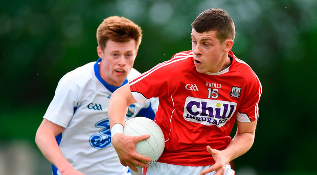Cork's Anthony O'Connor tries to evade Waterford's Conor McCarthy. Photo: Matt Browne/Sportsfile