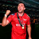 Kildare native Tadhg Beirne celebrates the Scarlets victory. Photo: Ramsey Cardy/Sportsfile