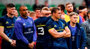 Jack O'Donoghue, Simon Zebo, Tommy O'Donnell and Angus Lloyd show their disappointment after Munster's defeat on Saturday. Photo: Ramsey Cardy/Sportsfile