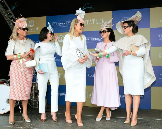 Finalists congratulate Jane Mulrooney at the Killashee Irish Tatler Style Icon competition at The 1000 Guineas at the Curragh Racecourse in Kildare. Picture: Brian McEvoy