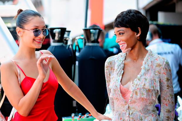 Winnie harlow cheers on rumoured boyfriend lewis hamilton at royally supermodels bella hadid and winnie harlow on the grid during the monaco formula one grand prix m4hsunfo