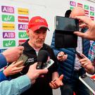 Tyrone manager Mickey Harte being interviewed after the game the Ulster GAA Football Senior Championship Quarter-Final match between Derry and Tyrone at Celtic Park, in Derry. Photo by Oliver McVeigh/Sportsfile