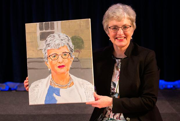 Children's Minister Katherine Zappone was presented with a portrait of herself created by a student in Oberstown using photo manipulation software. Photo: Collinssubstances