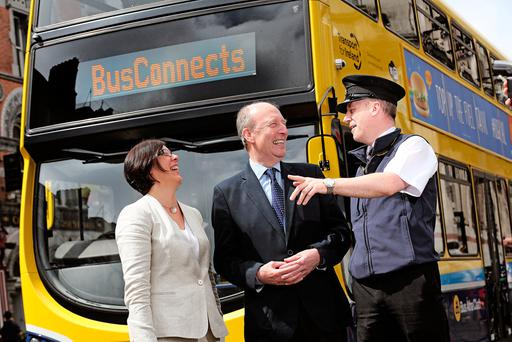 National Transport Authority CEO Anne Graham, Transport Minister Shane Ross and bus inspector Ciaran Keogh at the launch of the new plan. Photo: Julien Behal