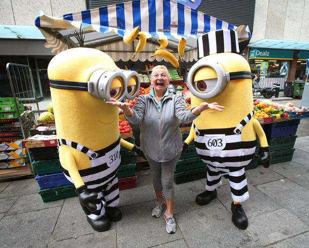Minions Kevin and Stuart from the upcoming film, Despicable Me 3, have been pictured at Moore Street Market this morning Pic. Robbie Reynolds