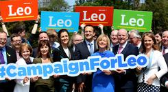 Leo Varadkar, Minister for Social Protection with Oireachtas members, Councillors and supporters at his launch. Pic Tom Burke.