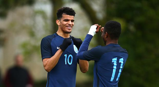 PLOUFRAGAN, FRANCE - MARCH 28: Dominic Solanke of England (L) celebrates with Ademola Lookman of England (R) after scoring his sides second goal during the UEFA U20 International Friendly match between England and Senegal at Stade Municipal du Haut-Champ on March 28, 2017 in Ploufragan, France. (Photo by Jordan Mansfield - The FA/The FA via Getty Images)