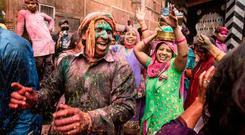 People 'playing Holi' in the town of Vrindavan