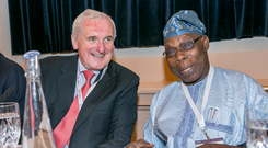 Bertie Ahern, co-chairman of the InterAction Council, with fellow co-chairman Olusegun Obasanjo at its 34th annual plenary meeting in the Westin Hotel, Dublin. Photo: Kyran O'Brien