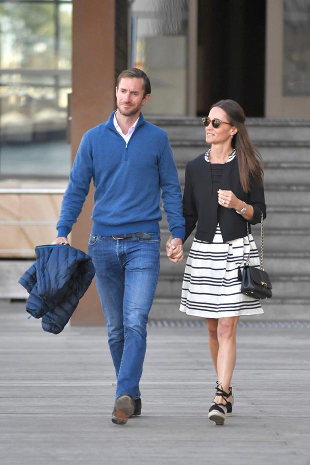 Pippa Middleton and new husband James Matthews are seen getting on a water taxi in Pippa Middleton and new husband James Matthews are seen getting on a water taxi in Sydney harbour during their honeymoon. Picture: Splash News