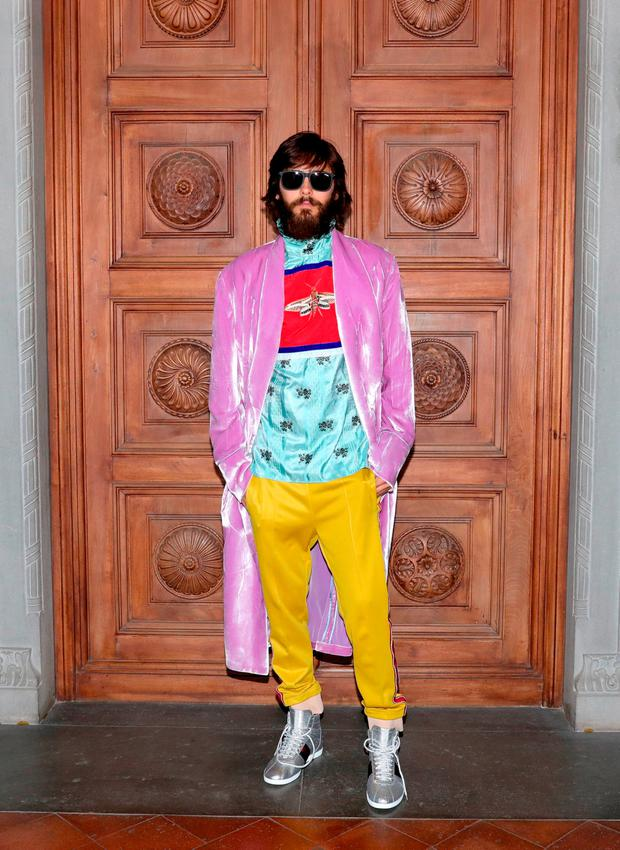 Jared Leto arrives at the Gucci Cruise 2018 fashion show at Palazzo Pitti on May 29, 2017 in Florence, Italy. (Photo by Vittorio Zunino Celotto/Getty Images for Gucci)