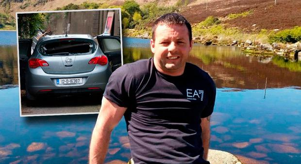 Victim Michael Keogh and the car (featuring false plates) that was discovered burnt out