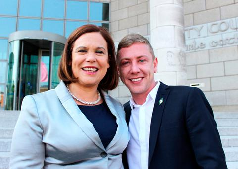 Former Sinn Féin councillor Jonathan Dowdall with deputy SF leader Mary Lou McDonald