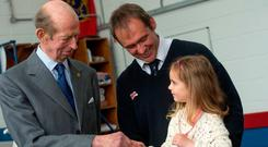 The Duke of Kent meets Kinsale lifeboatman Jim Grennan and his daughter Maeve (5). Photo Michael Mac Sweeney/Provision
