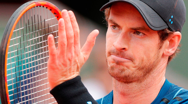 Britain's Andy Murray applauds as he plays Russia's Andrey Kuznetsov during their first round match the French Open tennis tournament at Roland Garros. Photo: AP