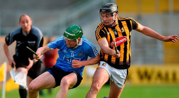 Dublin's Fergal Whitely attempts to get away from Kilkenny's Jason Cleere during their Bord Gáis Energy Leinster U21 quarter-final in Nowlan Park. Photo by Matt Browne/Sportsfile