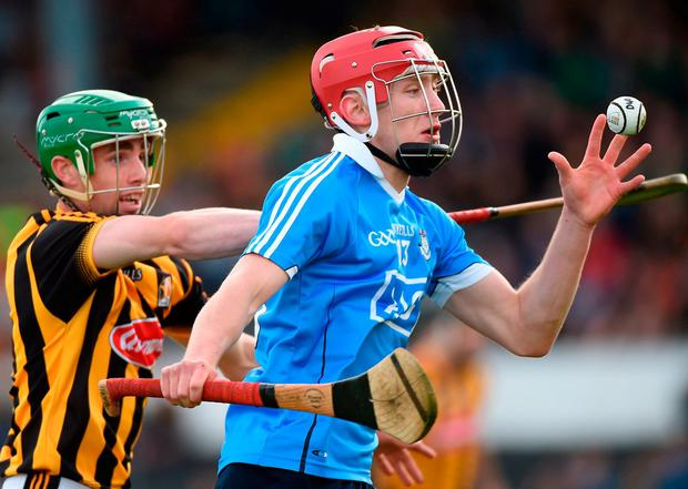 Dublin's Colin Currie in action against Kilkenny's Tommy Walsh. Photo: Matt Browne/Sportsfile