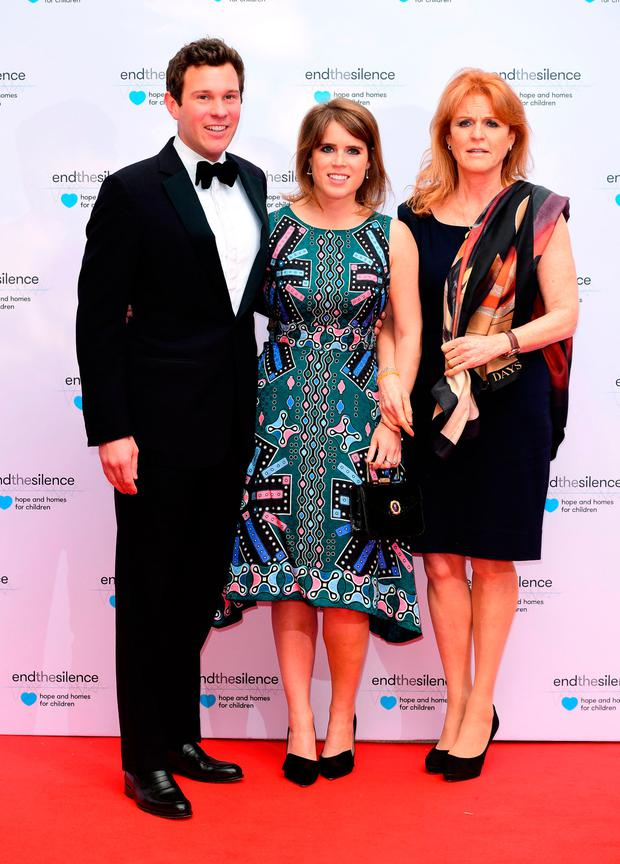 Sarah Ferguson, Duchess of York, Princess Eugenie of York and Jack Brooksbank attending the End the Silence Charity Fundraiser at Abbey Road Studios, London