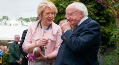 President of Ireland Michael D Higgins & his wife Sabina at Our Lady's Children's Hospital, Crumlin Garden by Kieran Dunne & Anthony Dunne at the opening of Bord Bias 11th Bloom festival in the Phoenix Park, Dublin. Photo: Gareth Chaney Collins