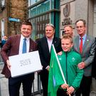 In attendance at the hand in of the IRFU Rugby bid submission for the 2023 Rugby World Cup are, from left, Bid ambassador Brian O'Driscoll, Brett Gosper, CEO, World Rugby, bid Kid Alex Place, Alan Gilpin, Head of Rugby World Cup, Ireland 2023 Oversight Board member Dick Spring, Sports Minister Shane Ross T.D., and Ireland head coach Joe Schmidt. Dublin, Ireland. Photo by Sam Barnes/Sportsfile