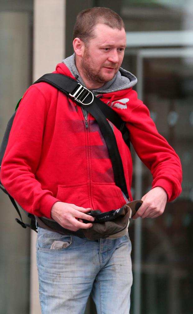Ronan Stephens (40) from Captain's Road, Crumlin, Dublin, leaves the Dublin District Court this afternoon where he faces seven charges under the Maritime Safety Act, the Theft and Fraud Act and the Public Order Act. He is accused of being drunk during a boat chase on the River Liffey in Dublin in the early hours of today. Pic Collins Courts.