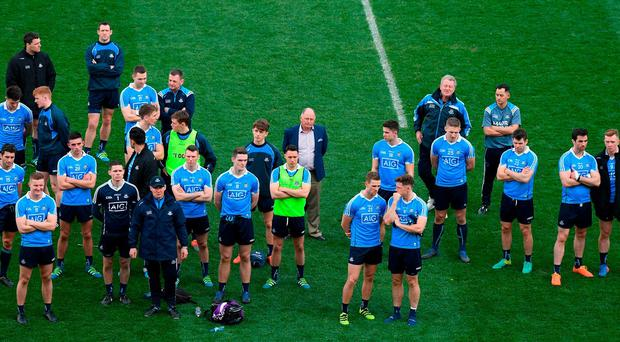 Dublin players look on after their Allianz League final defeat Kerry. Photo: Ray McManus/Sportsfile