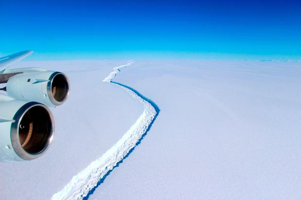 An aerial view of the Larsen C ice rift in Antarctic, where an expanse of ice roughly the size of Co Galway is close to breaking off from the warming Antarctic ice shelf to form one of the world's largest-ever icebergs, scientists with Project Midas, a Swansea Universtiy Antarctic research group, said yesterday. Photo: AFP/Getty Images