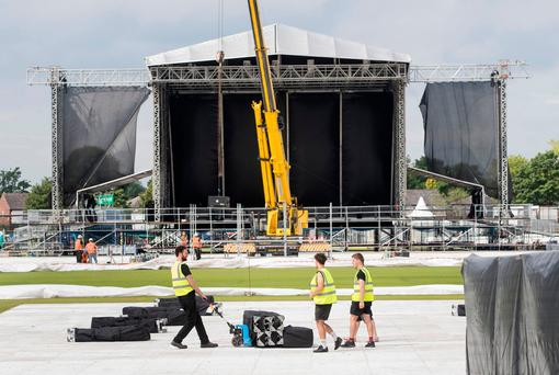 Preparations take place at the Emirates Old Trafford cricket ground ahead of Ariana Grande's One Love Manchester concert. Photo: PA