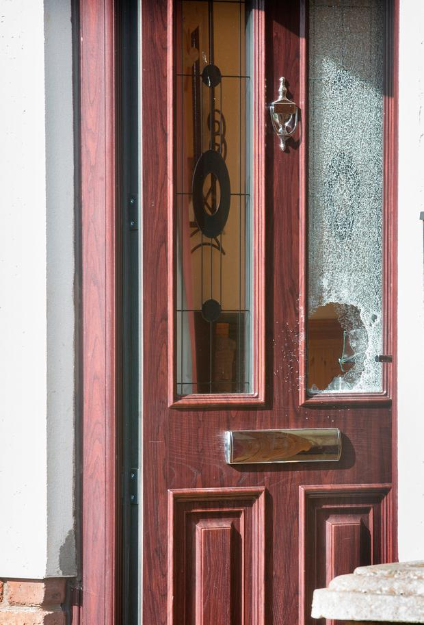 Shattered glass in a door at the scene of a shooting incident in Lagavooren Manor, Drogheda. Photo: Tony Gavin