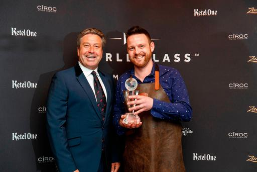 John Torode is pictured with Andy Ferreira from Cask in Cork who was crowned World Class Irish Bartender of the Year at the World Class Irish Final 2017 at Zozimus, Dublin.Pic: Andres Poveda