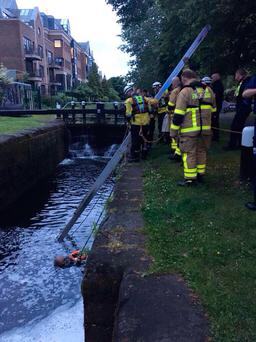 Man rescued from the Grand Canal in Dublin. Picture: @DubFireBrigade