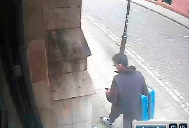 Handout CCTV image issued by Greater Manchester Police of Salman Abedi carrying a distinctive blue suitcase before he carried out the Manchester Arena terror attack. PRESS ASSOCIATION Photo. Issue date: Friday June 2, 2017 . Photo credit should read: GMP/PA Wire