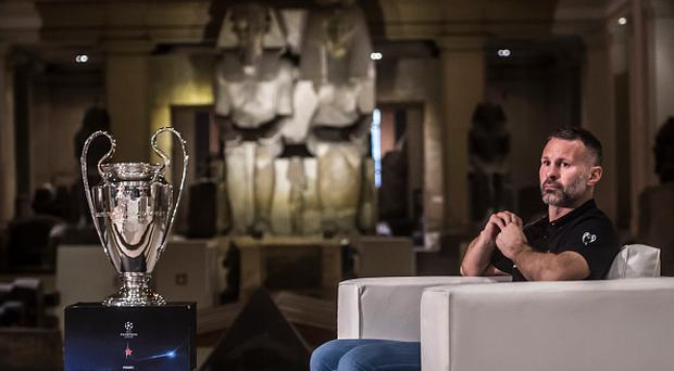 CAIRO, EGYPT - APRIL 05: Former footballer Ryan Giggs attends a television interview in the Egyptian Museum during the UEFA champions league trophy tour on April 5, 2017 in Cairo, Egypt. (Photo by Getty Images/Getty Images)