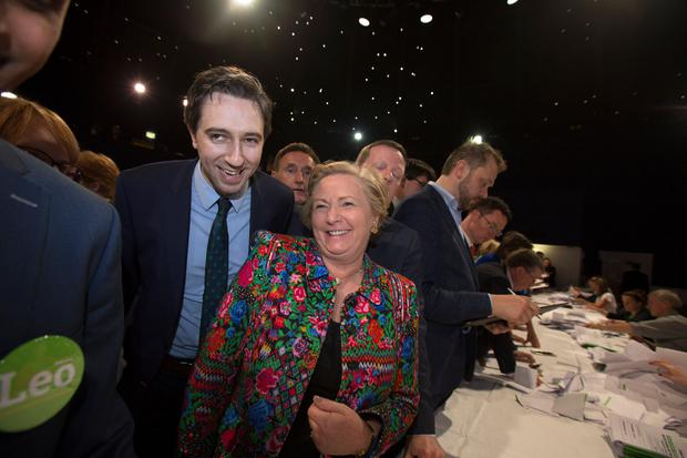 Ministers Simon Harris and Frances Fitzgerald at the National count centre for the Fine Gael leadeship election Pic:Mark Condren