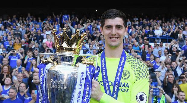 LONDON, ENGLAND - MAY 21: Thibaut Courtois of Chelsea celebrates winning the league following the Premier League match between Chelsea and Sunderland at Stamford Bridge on May 21, 2017 in London, England. (Photo by Darren Walsh/Chelsea FC via Getty Images)