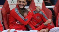 Lucas Perez has spent most of his time at Arsenal on the bench Getty