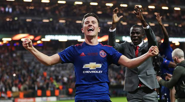 STOCKHOLM, SWEDEN - MAY 24: Ander Herrera of Manchester United celebrates after the victory during the UEFA Europa League Final between Ajax and Manchester United at Friends Arena on May 24, 2017 in Stockholm, Sweden. (Photo by Nils Petter Nilsson/Getty Images)