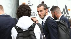 In this handout image provided by UEFA, Gareth Bale of Real Madrid arrives prior to the UEFA Champions League Final between Juventus and Real Madrid at Cardiff Airport on June 2, 2017 in Cardiff, Wales. (Photo by Handout/UEFA via Getty Images)