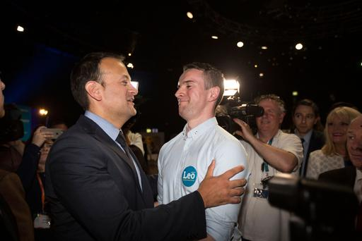 Leo Varadkar with his partner Dr Matthew Barrett at the count centre yesterday. Photo: Mark Condren