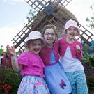 Aoibheann (5) and Eleanor (6) O'Connor with Grace Weldon (6) – all from Swords – at the Fluirse Fingal Designed garden. Photo: Gareth Chaney/Collins