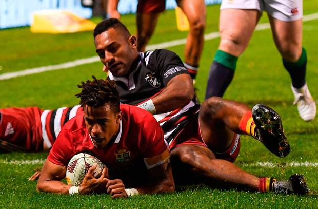 Anthony Watson dives in to score the Lions' try during their opening tour match victory at the Toll Stadium in Whangarei yesterday. Photo: Stephen McCarthy/Sportsfile